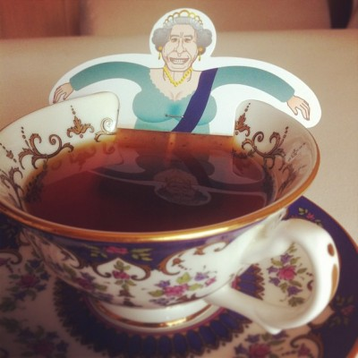 Queen Elizabeth II photo in a cup of tea