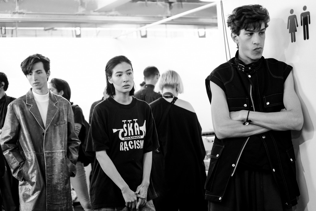 JOHN LAWRENCE SULLIVAN backstage on Day 3 London Fashion Week Mens SS18